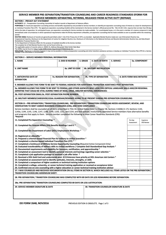 Dd Form 2648 - Service Member Pre-separation/transition Counseling And Career Readiness Standards Eform For Service Members Separating, Retiring, Released From Active Duty (refrad)
