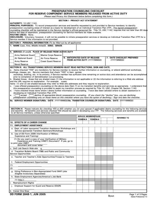 Dd Form 2648-1 - Preseparation Counseling Checklist For Reserve Component Service Members Released From Active Duty
