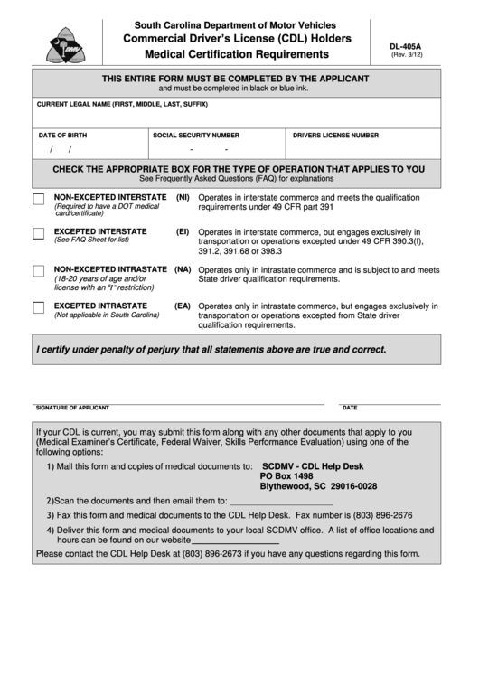 Form Dl-405a - Commercial Driver's License (cdl) Holders Medical Certification Requirements