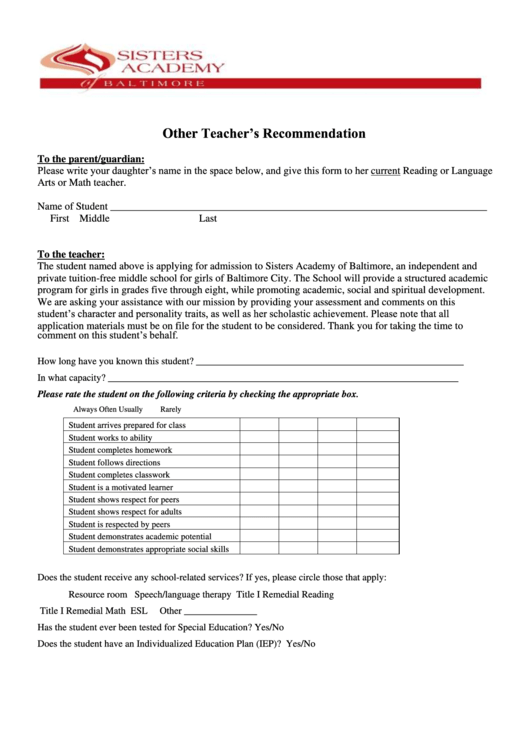 Other Teacher Recommendation Form - Sisters Academy Of Baltimore