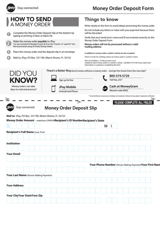 Fillable Money Order Deposit Form - Jpay printable pdf download