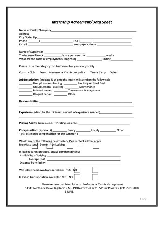 Internship Agreement/data Sheet - Ferris State University