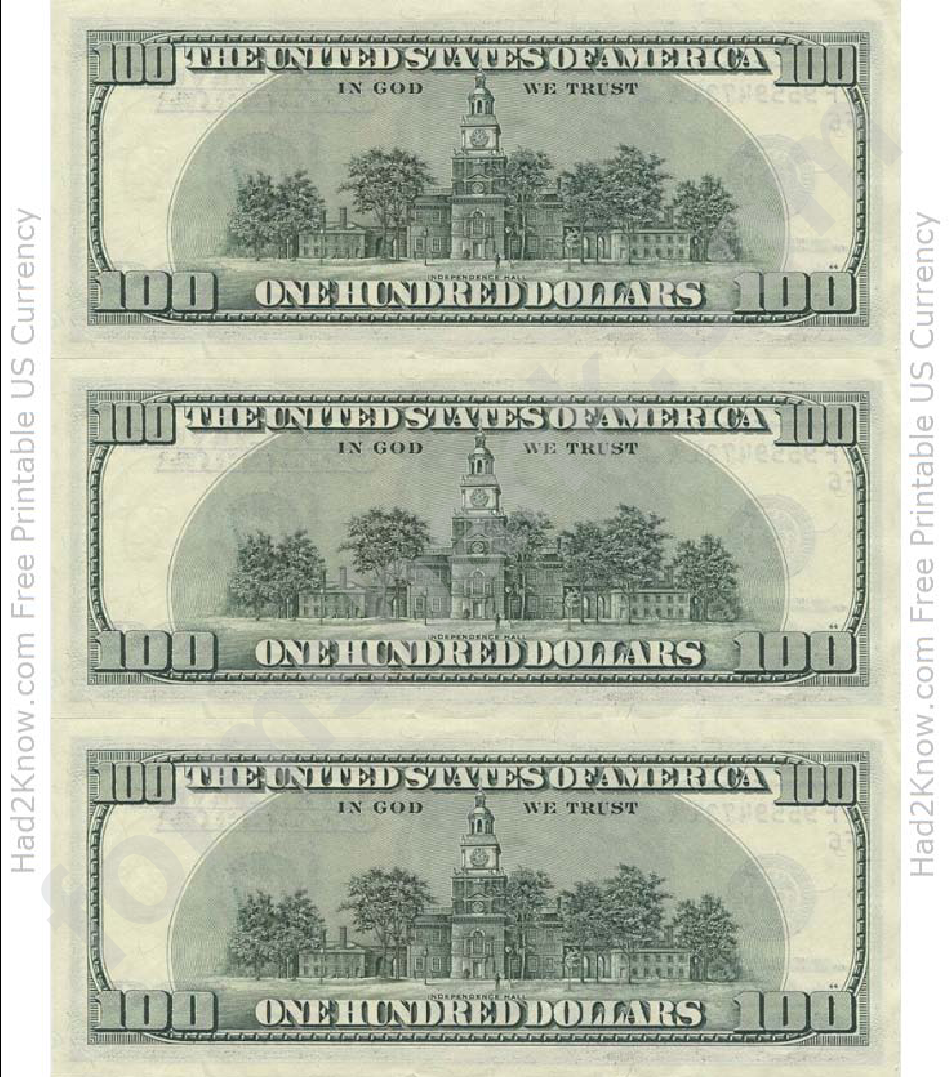photograph relating to Printable 100 Dollar Bill Front and Back called 100 Greenback Monthly bill Template Down load