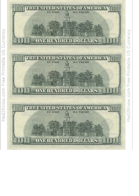 Top 6 100 dollar bill templates free to download in pdf format one hundred dollar bill template back maxwellsz