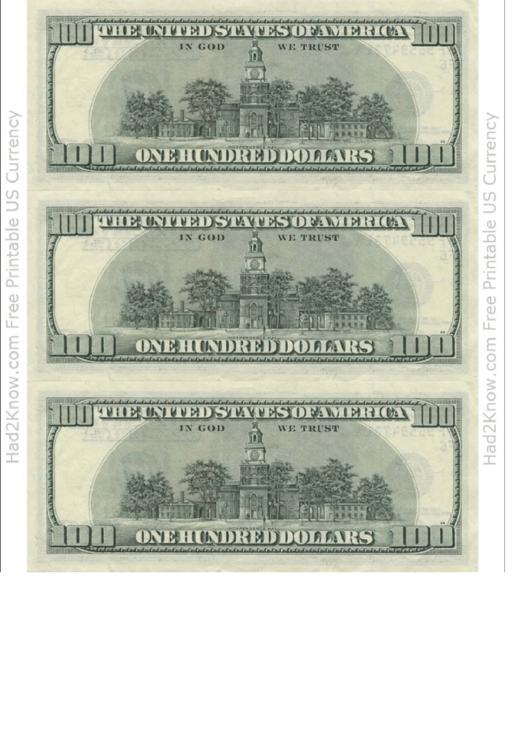One Hundred Dollar Bill Template - Back