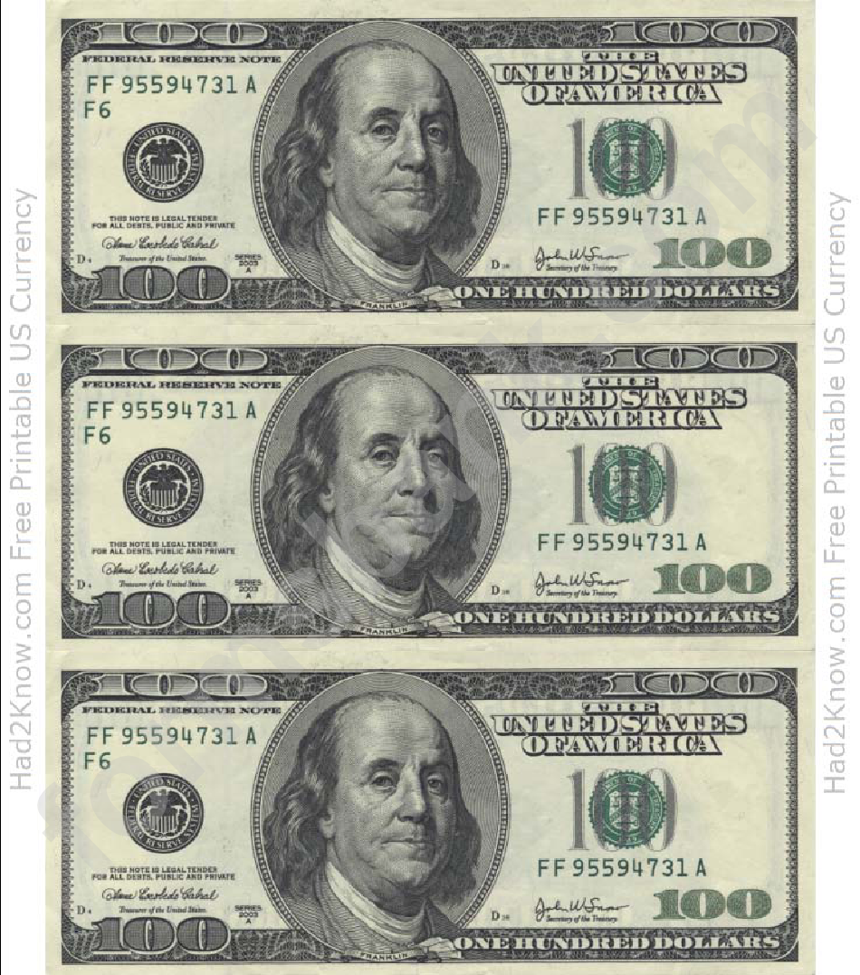 It is an image of Invaluable Free Printable 100 Dollar Bill