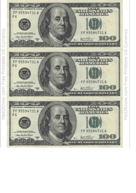image regarding Printable 100 Dollar Bill titled A single Hundred Greenback Invoice Template - Entrance printable pdf down load