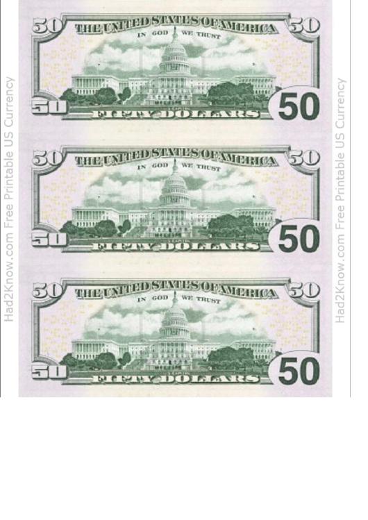 Fifty Dollar Bill Template - Back