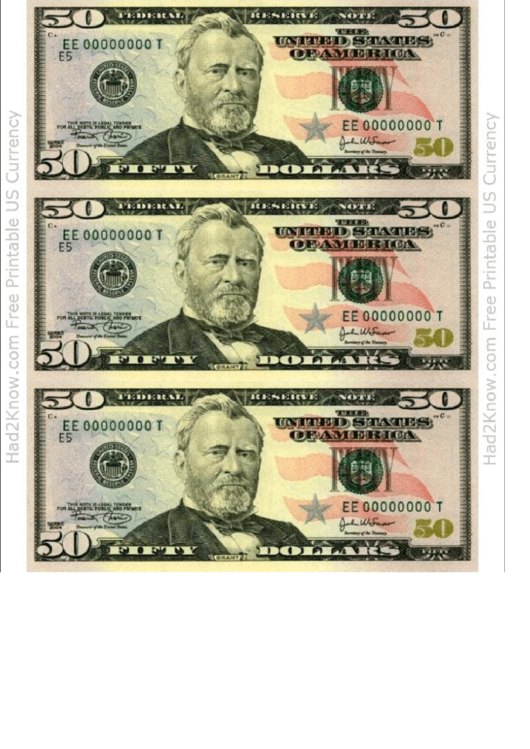 Fifty Dollar Bill Template Front Printable Pdf Download