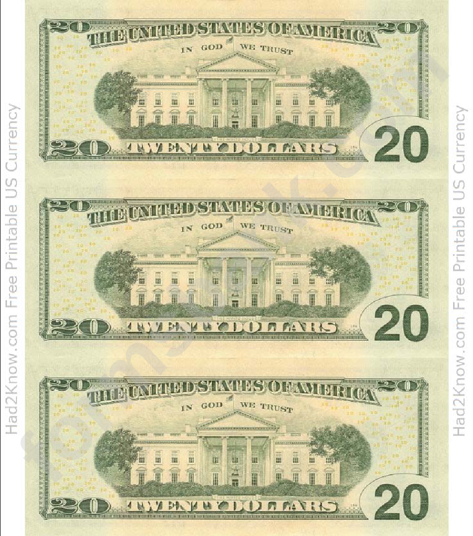 Twenty Dollar Bill Template Back Printable Pdf Download