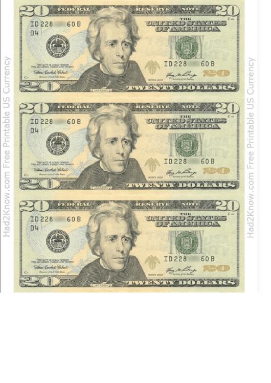 twenty dollar bill template