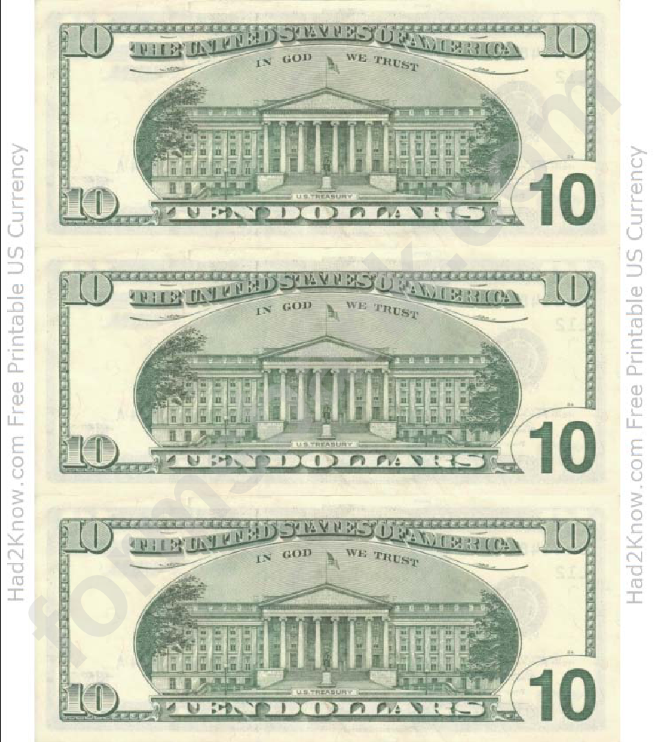 ten dollar bill template back printable pdf download