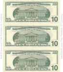 Ten Dollar Bill Template - Back