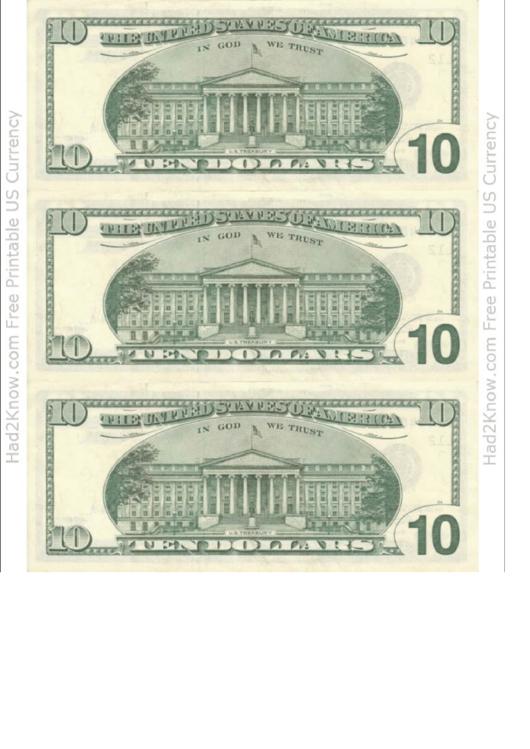 ten dollar bill template