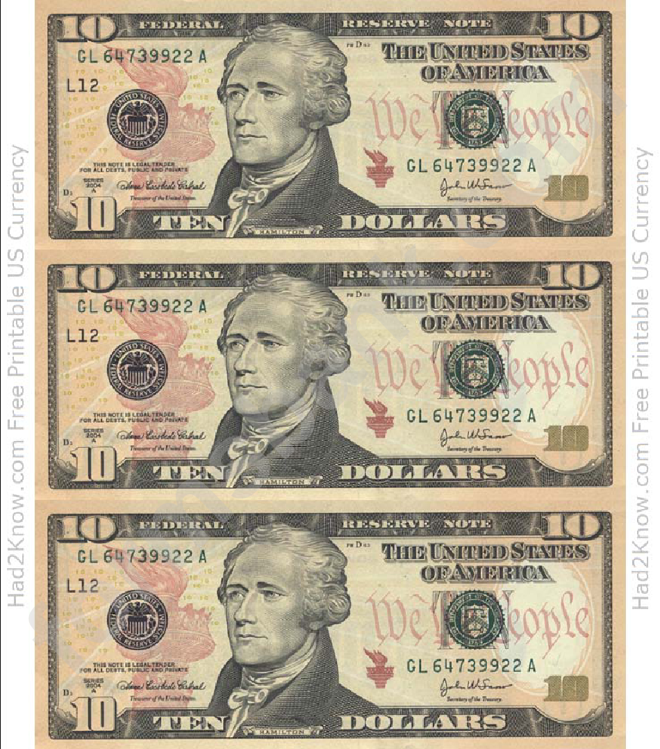 ten dollar bill template