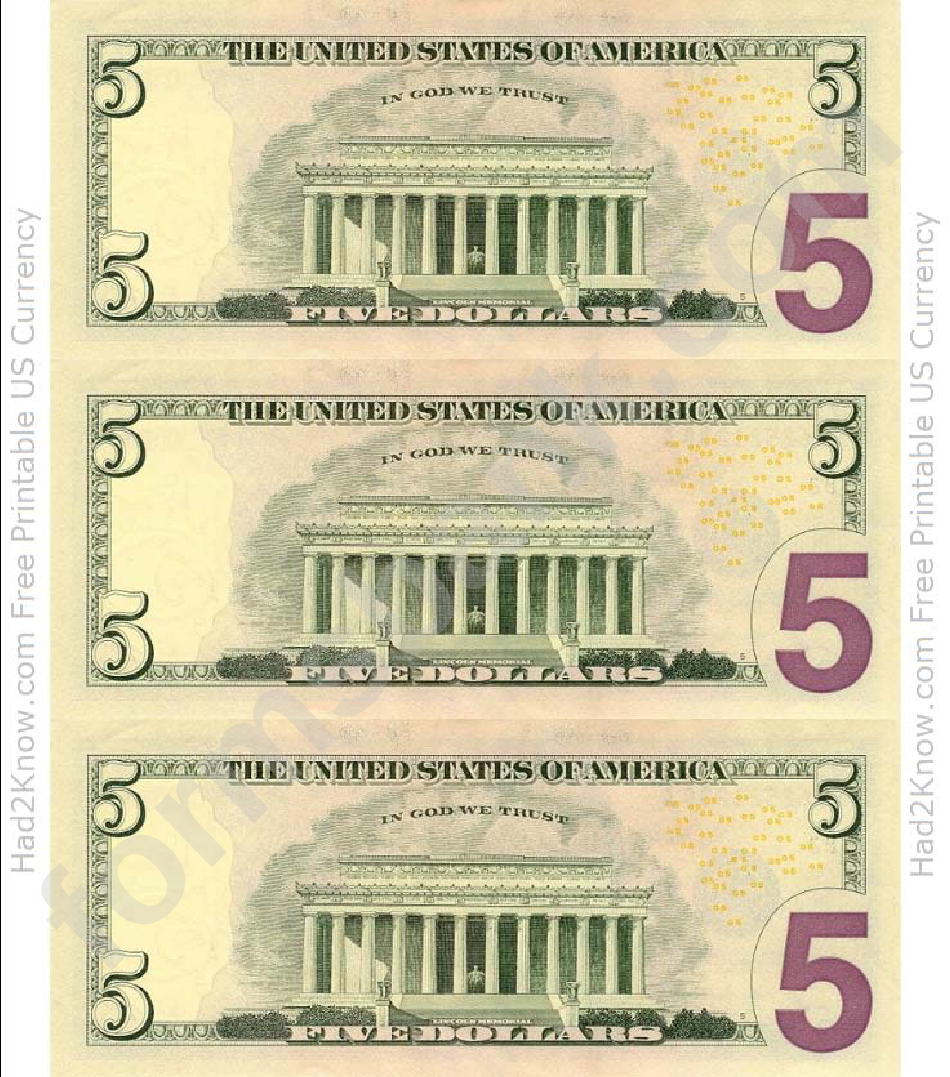 Five Dollar Bill Template Back Printable Pdf Download