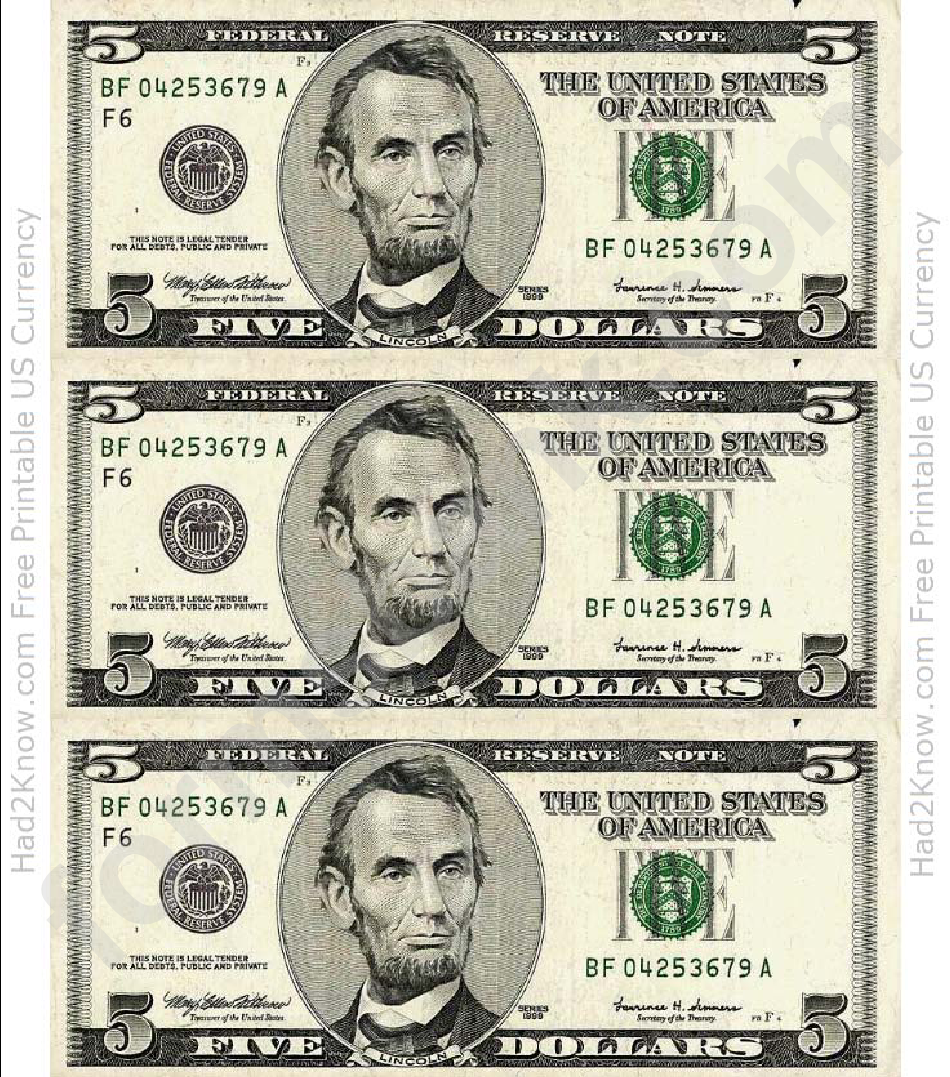 Five Dollar Bill Template - Front printable pdf download