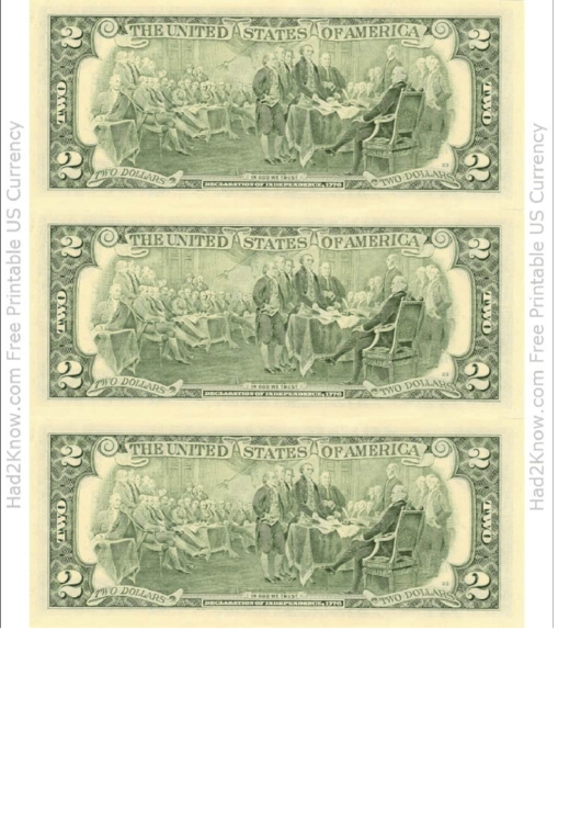 Two Dollar Bill Template - Back