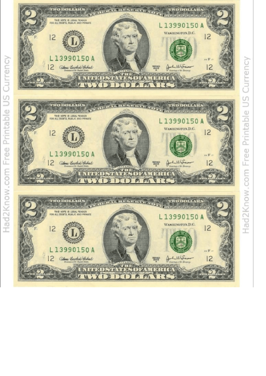 Two Dollar Bill Template - Front