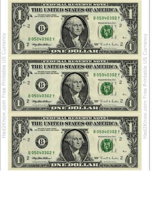 One Dollar Bill Template Front Printable Pdf Download