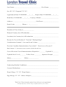 London Travel Clinic Sample Patient Information Form