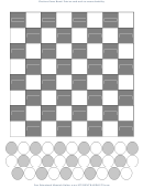 Checkers Game Board Template (b/w)