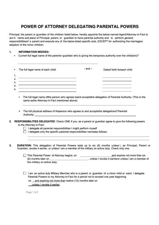 Fillable power of attorney form delegating parental powers for Full power of attorney template