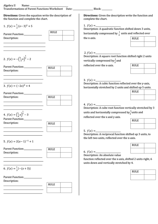 Transformations Of Parent Functions Worksheet Date Printable Pdf