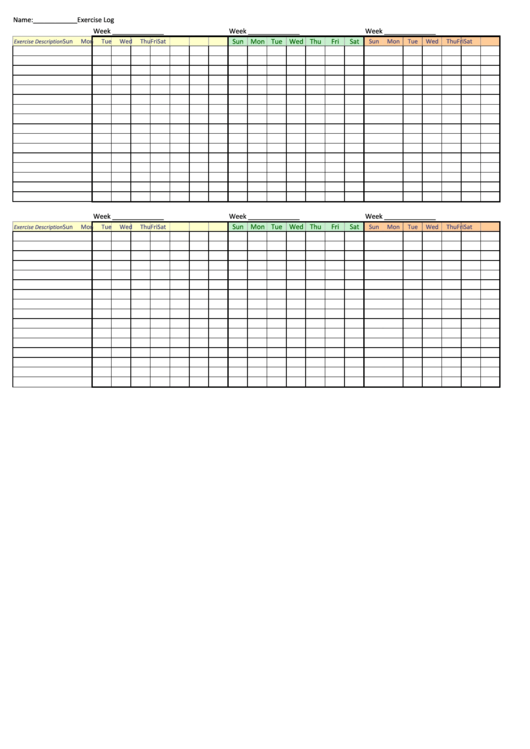 Weekly Exercise Log Template Printable pdf