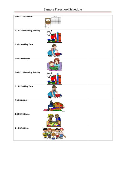 Sample Preschool Schedule Template Printable Pdf Download