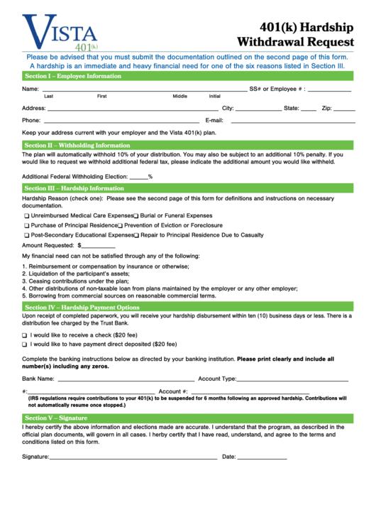 401 k  hardship withdrawal form printable pdf download