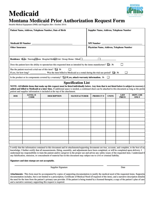 Montana Medicaid Prior Authorization Request Form