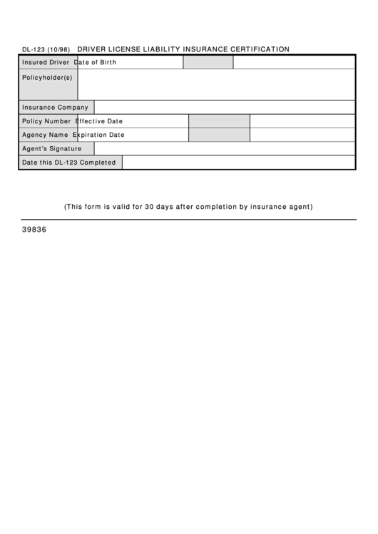 Form Dl-123 - Driver License Liability Insurance Certification ...