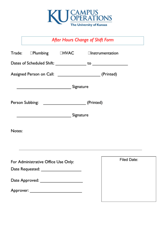 shift change form template