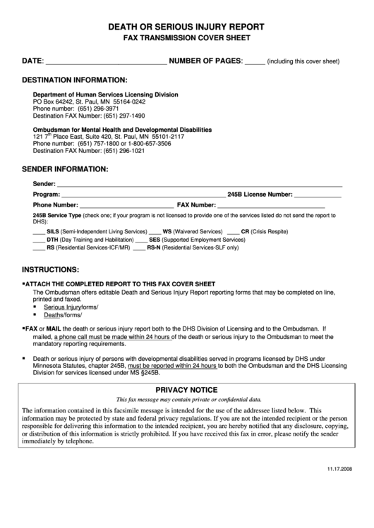 death serious report fax cover sheet minnesota printable
