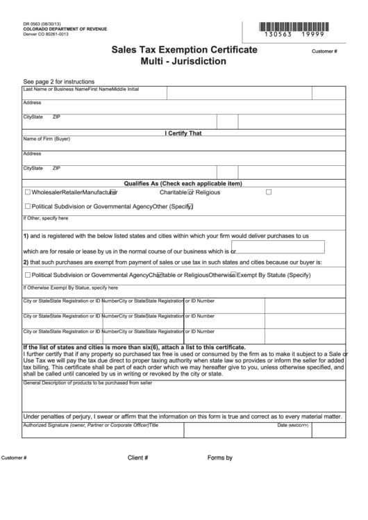 Fillable Form Dr 0563 Sales Tax Exemption Certificate Multi