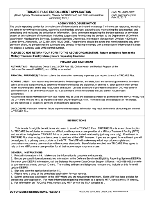 Fillable Dd Form 2853, Tricare Plus Enrollment Application, February 2014 Printable pdf
