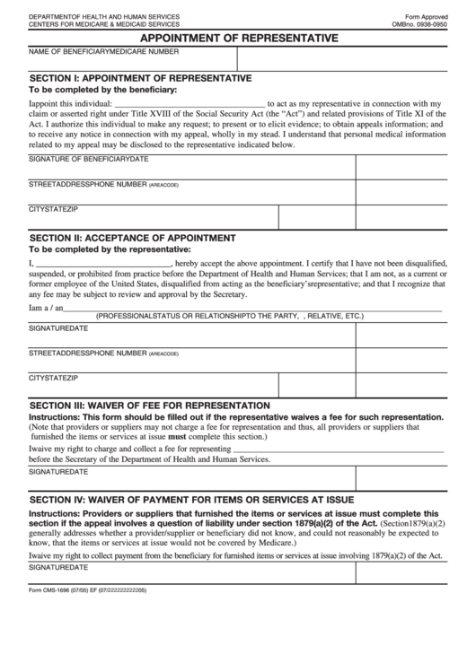 Form Cms-1696 - Appointment Of Representative Template Printable pdf