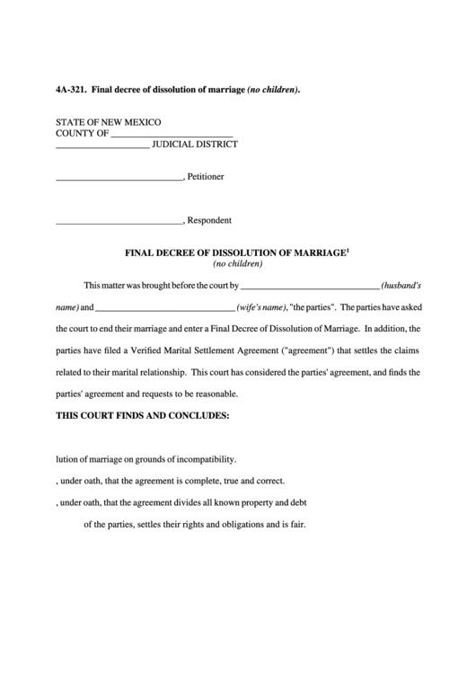 Final Decree Of Dissolution Of Marriage (No Children) Printable pdf