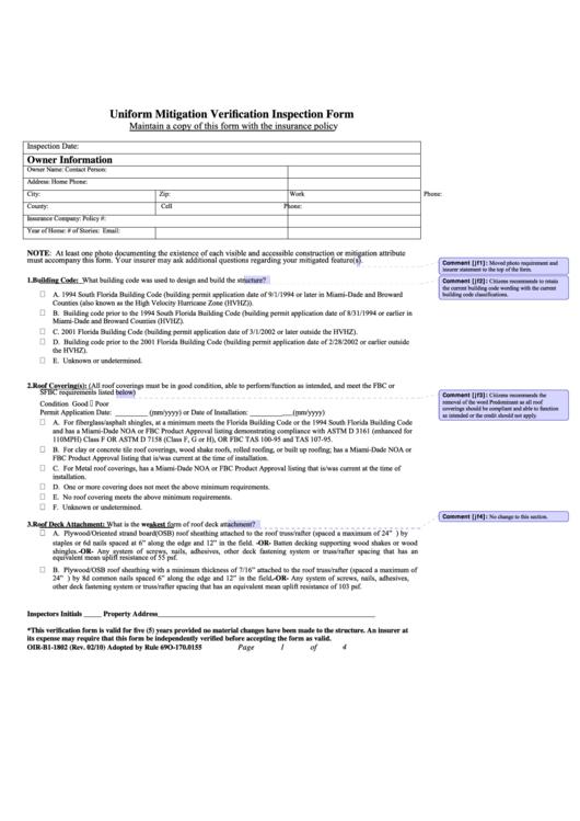 2010 Uniform Mitigation Verification Inspection Form