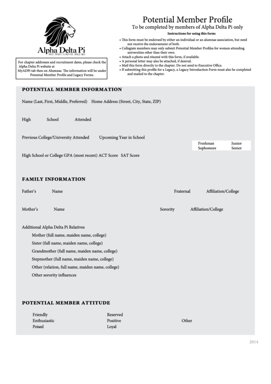 fillable alpha delta pi potential member profile template printable pdf download