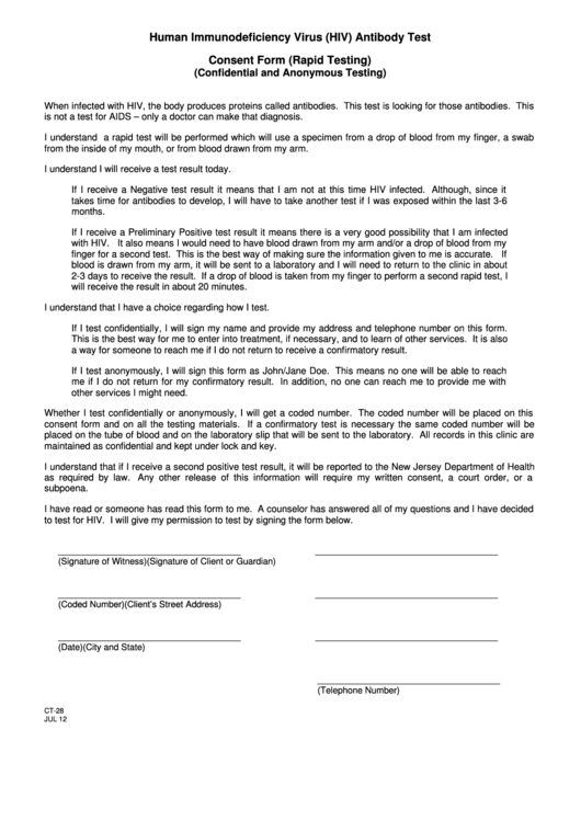 hiv  antibody test consent form  rapid testing  printable