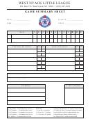 Wnll Game Summary Sheet