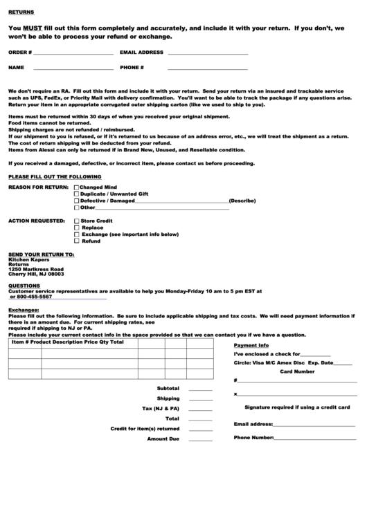 Kitchen Kapers Merchandise Return Form Printable pdf
