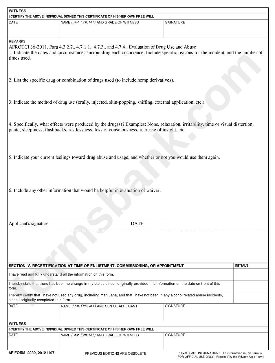Af Imt 2030 Usaf Drug And Alcohol Abuse Certificate (Page 2 of 2 ...