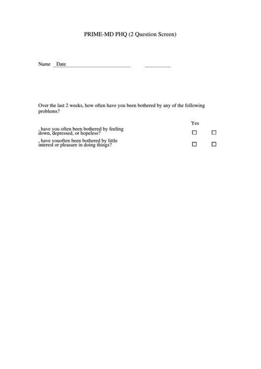 Top Phq-2 Form Templates free to download in PDF, Word and Excel ...