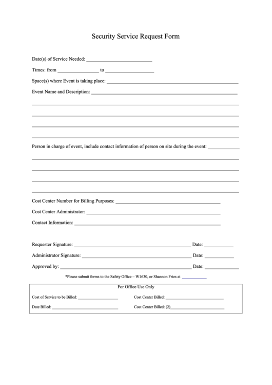 Security Service Request Form Printable Pdf Download