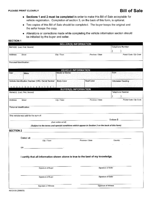 Form Reg3126 - Bill Of Sale