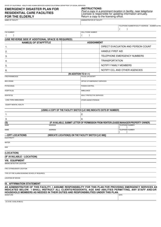 Lic 610e - Emergency Disaster Plan For Residential Care ...