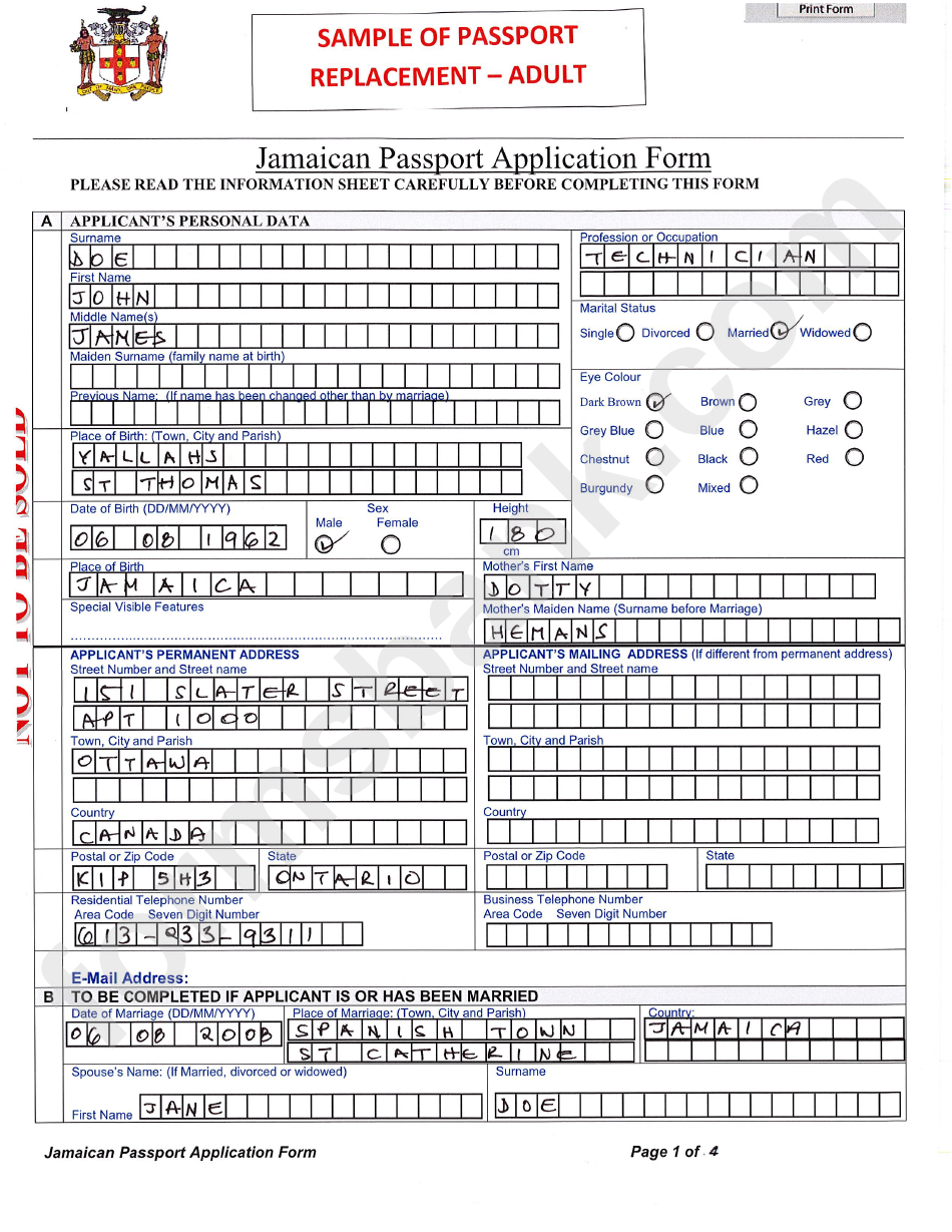 Sample filled in jamaican passport application form printable pdf sample filled in jamaican passport application form falaconquin